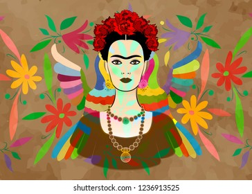 Portrait of the young beautiful mexican woman with a traditional hairstyle. Mexican earrings, crown of flowers and red flowers. Traditional Mexican dress, death's day Vector floral tapestry background