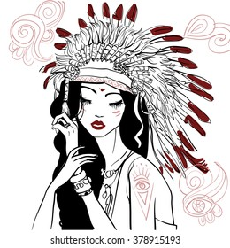 portrait of young beautiful native american woman