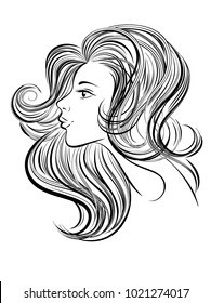 Portrait of young beautiful woman with long hair. Hand drawn girl with red lips. Vector digital drawing. Line art