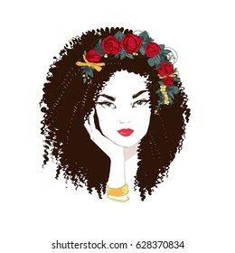 Portrait of young beautiful woman with red roses in hair . Vector hand drawn illustration.