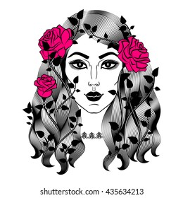 Portrait of young beautiful woman with roses. Female face with flowers. Fashion girl with long wavy hair. Vector illustration