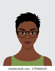 Portrait of a young black African girl with short black hair, glasses, and a smile on her face. Avatar for social networks. Vector flat stock illustration.