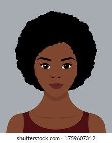 Portrait of a young black African girl with an Afro hairstyle and a smile on her face. Avatar for social networks. Vector flat illustrations.