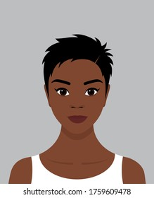 Portrait of a young black African girl with short black hair and a smile on her face. Avatar for social networks. Vector flat stock illustration.