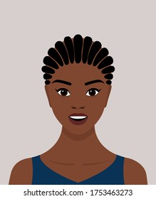 Portrait of a young black African-American woman with dreadlocked braids on her head. The girl smiles. Avatar for social networks. Vector stock flat illustration