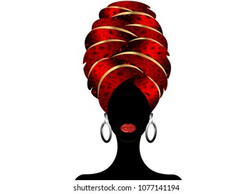 Portrait of the young black woman in a turban. Animation African beauty. Vector color illustration isolated on a white background. Traditional Kente head wrap African. Red color pattern headscarf