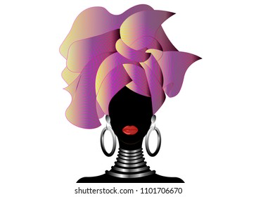 Portrait of the young black woman in a turban. Animation African beauty. Vector color illustration isolated on a white background. Traditional Kente head wrap African. Print, poster, t-shirt, card