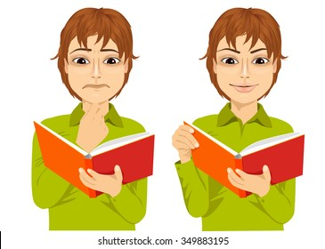 portrait of young boy focused reading interesting book with hand on chin and smiling