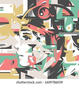 Portrait of a young brunette girl profile in an abstract colorful modern graffiti and street art style background. Vector illustration.