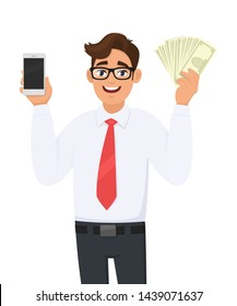 Portrait of young business man showing or holding a new digital smartphone (Mobile, Cell) and cash, money, currency notes in hand. Male character design illustration. Modern lifestyle in cartoon.