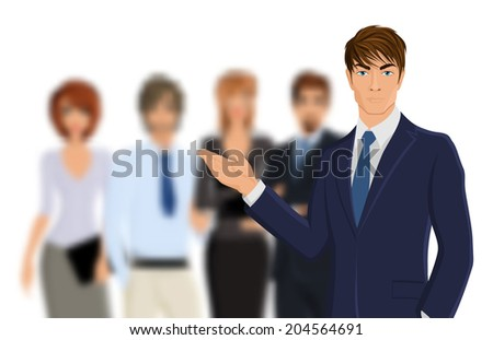Portrait of young businessman in suit with blured business team vector illustration