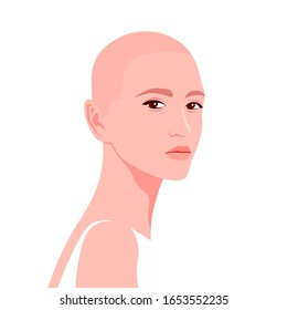 Portrait of a young caucasian woman. The bald girl is model. Fashion and alopecia. Bright vector illustration in flat style.