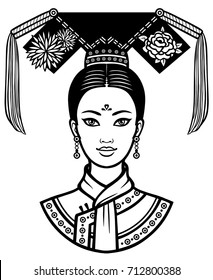 Portrait of the young Chinese girl with an ancient hairstyle. Monochrome vector illustration isolated on a white background. Print, poster, t-shirt, card.