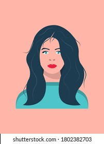 Portrait of a young dark-haired woman with blue eyes. Young woman with long hair. Female face. Vector illustration.