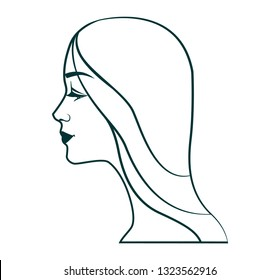 Portrait of a young girl in profile. Linear logo or skech.