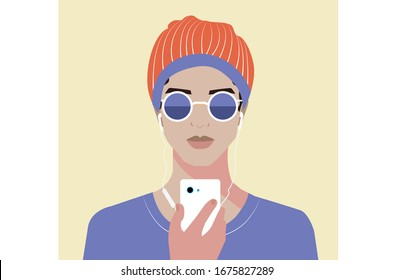 A portrait of young girl wearing goggles with earphones and using phone. Flat vector illustration. Recreation style.