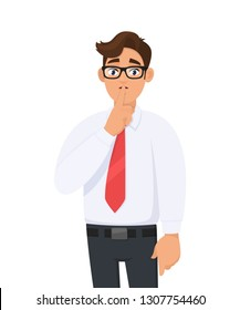 Portrait of young handsome businessman making shh gesture, keeping secret or asking silence with finger on lips. Keep quiet! Shh! Silence please! against white background in cartoon illustration.