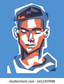 Portrait of a young man with closed eyes. Face close-up vector illustration in monumental style for a t-shirt or art print.