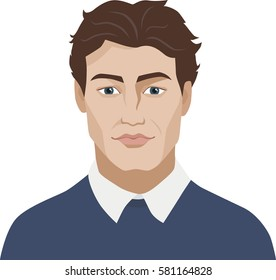 Portrait of a young man. Vector illustration.