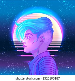 Portrait of a young pretty androgynous woman with short shaved pixie undercut in retro futurism style. Vector illustration in neon bright colors. Blue short hair. futuristic synth wave  flyer template