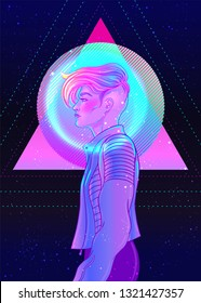Portrait of a young pretty androgynous woman with short shaved pixie undercut in retro futurism style. Vector illustration in neon bright colors. Blue short hair. futuristic synth wave flyer template.