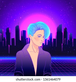 Portrait of a young pretty androgynous woman with short shaved pixie undercut in retro futurism style. Vector illustration in neon bright colors.  short hair. futuristic synth wave flyer template.