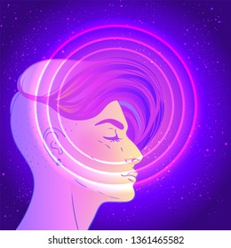 Portrait of a young pretty androgynous woman with short shaved pixie undercut in retro futurism style. Vector illustration in neon bright colors. short hair. futuristic synth wave flyer template