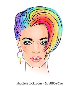 Portrait of a young pretty woman with short pixie haircut. Rainbow colored hair. LGBT concept. Vector illustration isolated on white. Hand drawn art of a modern girl.