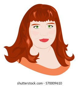 Portrait of a young red-haired chubby girl. Vector illustration