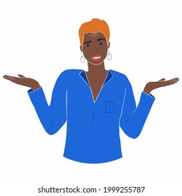 Portrait of young shocked afro american woman with casual style looking desperate or panic, keeping mouth open and making helpless gesture with her hands, doesn't know what to do. Person using non-ver