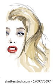 Portrait of a young woman with blond hair - vector illustration (Ideal for printing on fabric or paper, poster or wallpaper, house decoration)