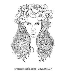 Girl Wearing Flower Crown Stock Illustrations Images Vectors Shutterstock