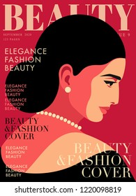 Portrait of young woman. Woman wearing black dress, earrings and necklace, looking down. Fashion magazine cover design. Vector illustration