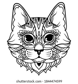 Portrait of zentangle cat. Illustration of a  head a cats. Stylized portrait of a kitten. Black and white freehand drawing. Ethnic pets. Wild animals. Ornamental animals.Tattoo.
