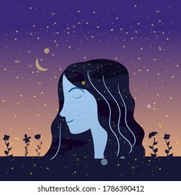 Portraite profile a girl with hair night sky stars. Female portrait character of magic night fairy fantasy. Vector isolated illustration