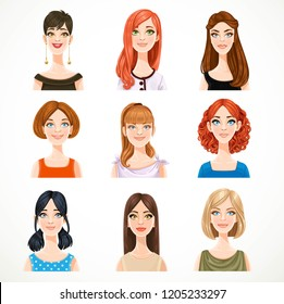 Portraits of avatars of cute different women isolated on a white background