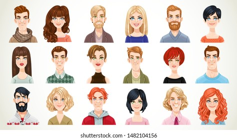 Portraits of avatars of different casual men and women very big set isolated on a white background