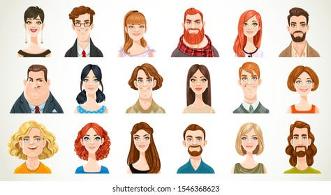 Portraits for avatars of different casual men and women very big set isolated on a white background