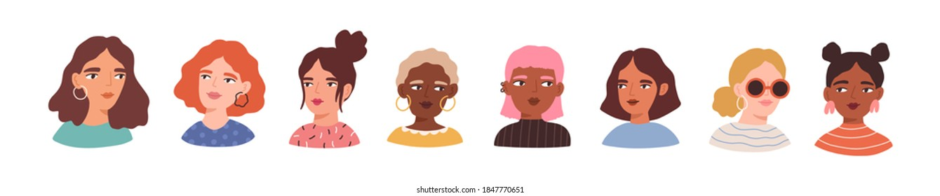Portraits of beautiful women of different skin color, age, hairstyle, face types. Avatars of diverse fashionable female characters isolated on white background. Flat vector cartoon illustration.