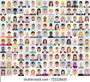 Portraits of different people, light background, detailed drawing, vector illustration