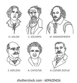 Portraits of English famous writers. O. Wilde, C. Dickens, W. Shakespeare, J. Kipling, A. Christie, A. Conan Doyle