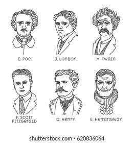 Portraits of famous American writers. Edgar Allan Poe, Jack London, Mark Twain, Francis Scott Fitzgerald, O. Henry, Ernest Hemingway