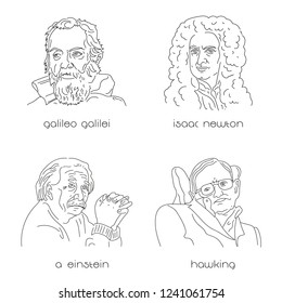 Portraits of famous physicists set. Black lines on white background.