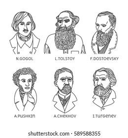 Portraits of famous Russian writers - Fyodor Dostoyevsky, Leo Tolstoy, Ivan Turgenev, Anton Chekhov, Nikolai Gogol, Alexander Pushkin, made in trendy linear style.