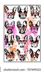 Portraits of French bulldog wearing sunglasses - vector illustration