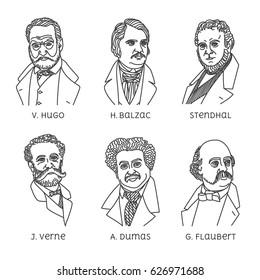 Portraits of French famous writers. Jules Verne, Alexandre Dumas, Gustave Flaubert, Victor Hugo, Honoré de Balzac, Stendhal