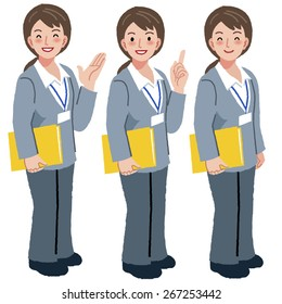 Portraits of geriatric care manager full length in different gesture.