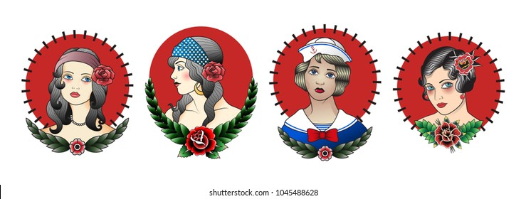 Portraits of Girls. Traditional Tattoo Design Set