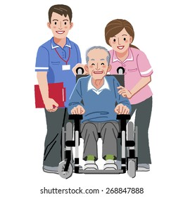 Portraits of happy elderly man in wheelchair and his nurses against white background.