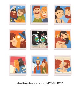 Portraits of Happy People Set, Photos of Romantic Couples, Families, Male Owner and His Pet Dog Vector Illustration
